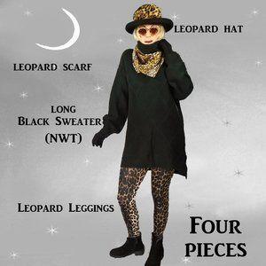 Black Turtleneck Tunic, Leopard Leggings, Faux Cheetah Fur Hat, Cheetah Scarf